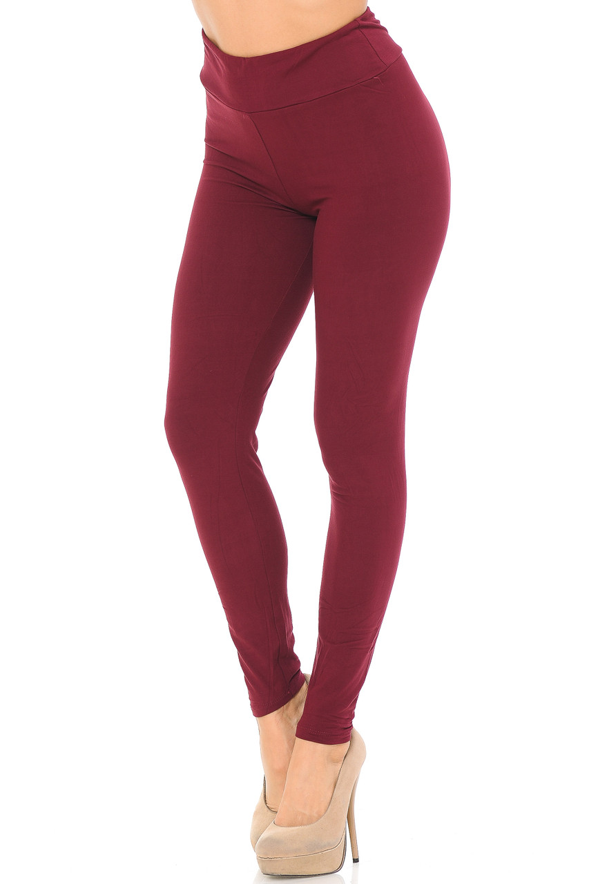 Angled left/partial front view image of burgundy Buttery Soft Basic Solid High Waisted Leggings - EEVEE - 3 Inch