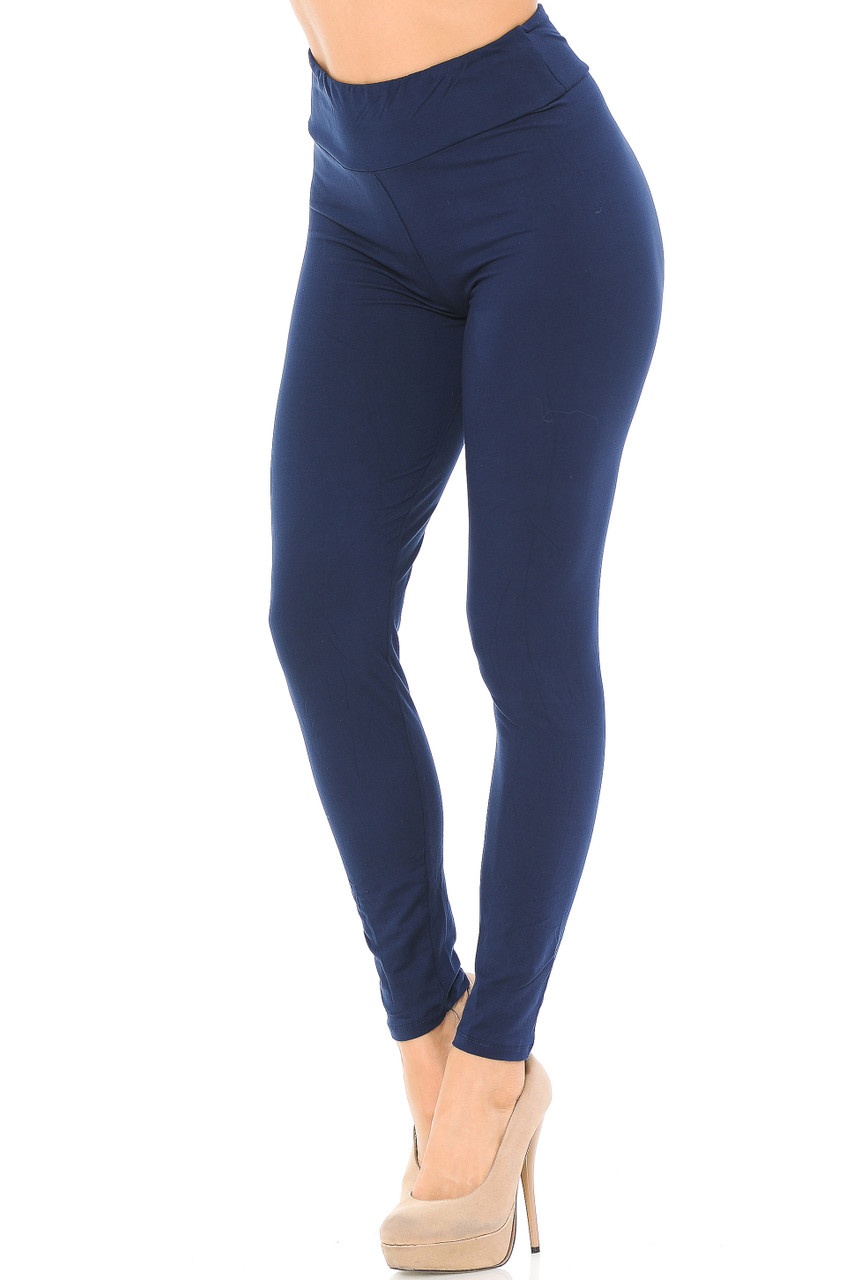 Angled left/partial front view image of navy Buttery Soft Basic Solid High Waisted Leggings - EEVEE - 3 Inch