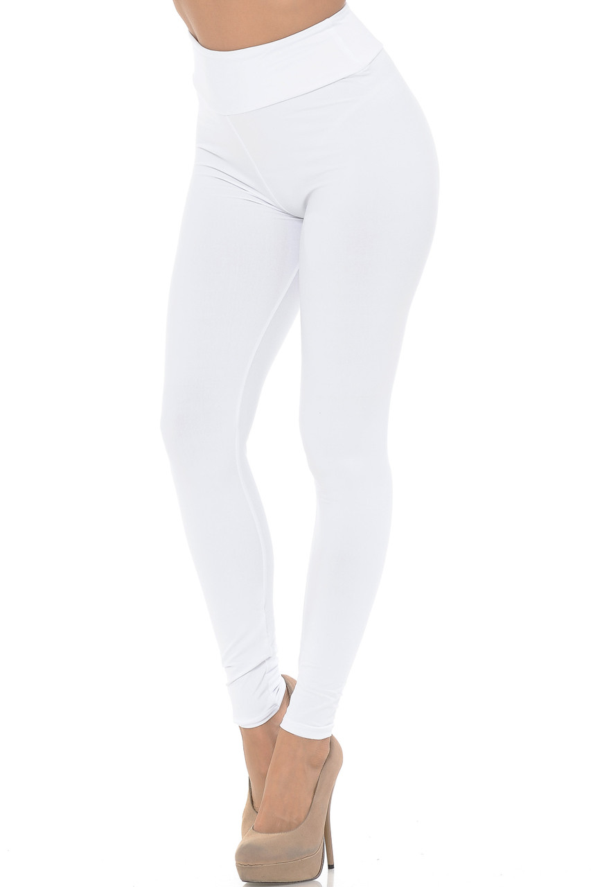 Angled left/partial front view image of white Buttery Soft Basic Solid High Waisted Leggings - EEVEE - 3 Inch