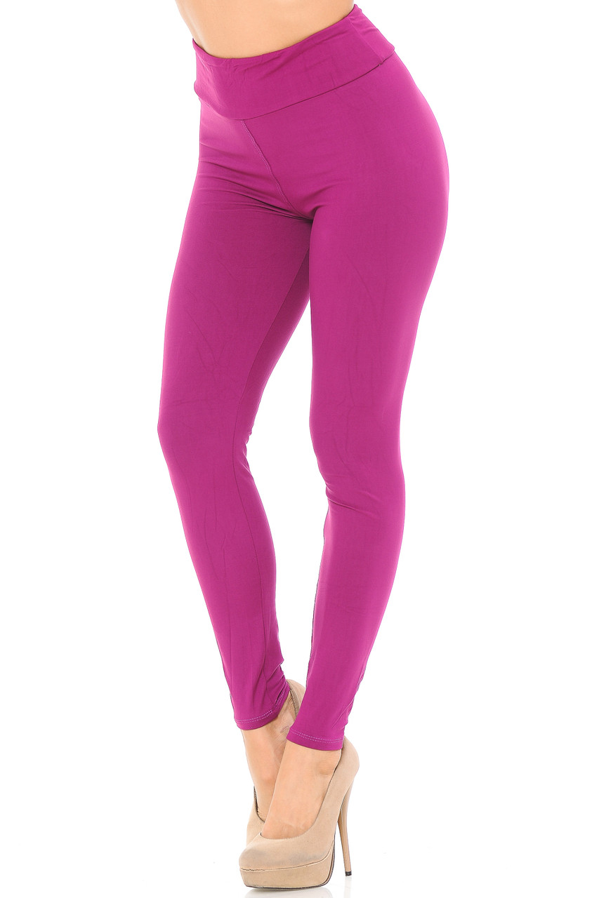 Angled left/partial front view image of magenta Buttery Soft Basic Solid High Waisted Leggings - EEVEE - 3 Inch