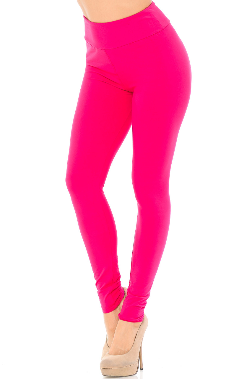 Angled left/partial front view image of fuchsia Buttery Soft Basic Solid High Waisted Leggings - EEVEE - 3 Inch