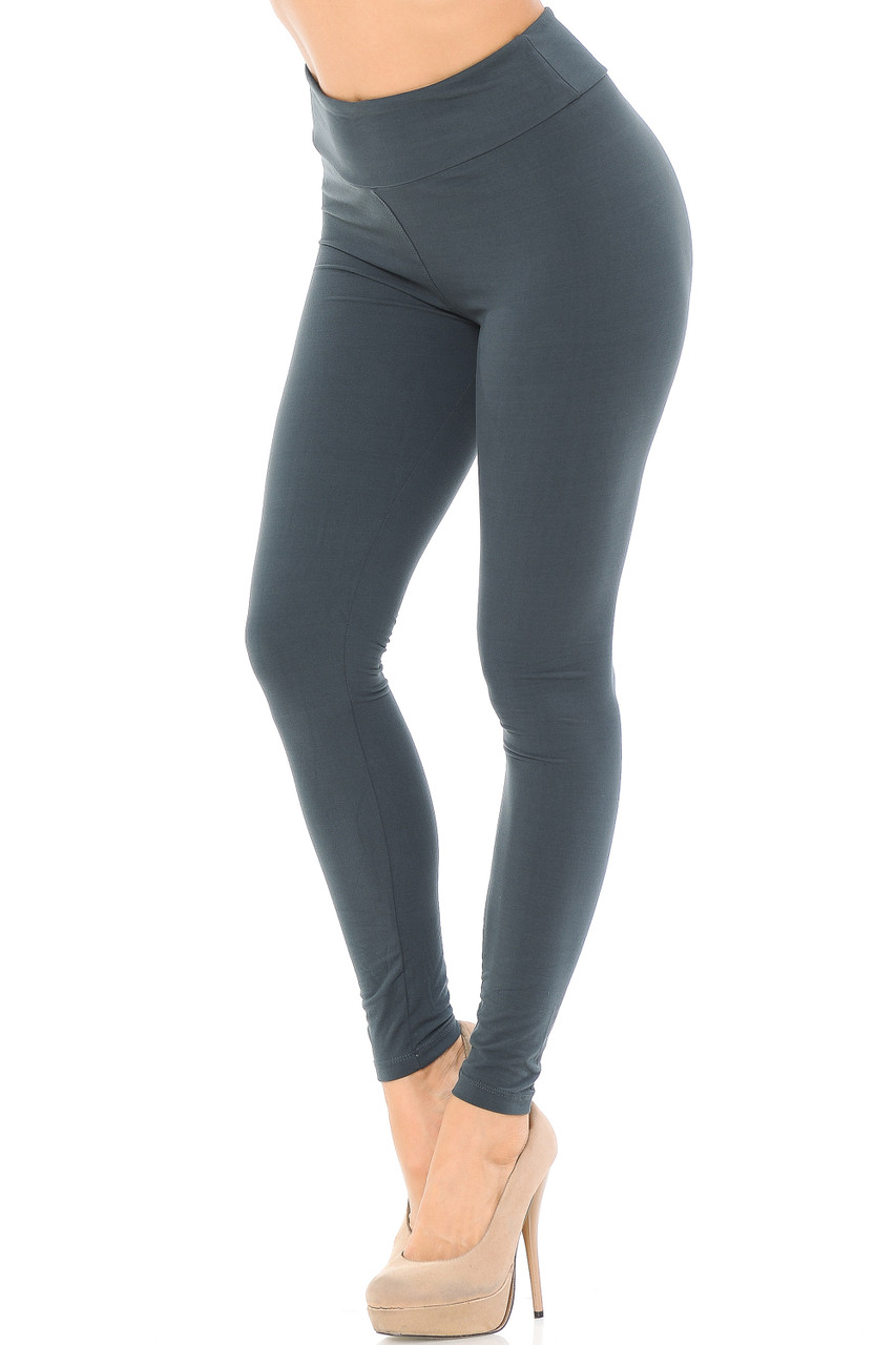 Angled left/partial front view image of charcoal Buttery Soft Basic Solid High Waisted Leggings - EEVEE - 3 Inch