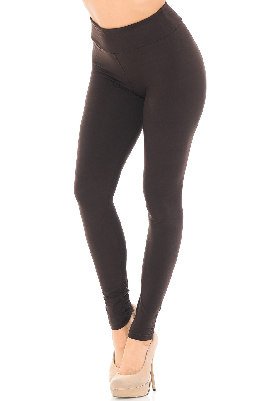 Angled left/partial front view image of brown Buttery Soft Basic Solid High Waisted Leggings - EEVEE - 3 Inch