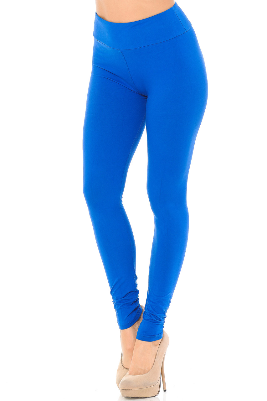 Angled left/partial front view image of blue Buttery Soft Basic Solid High Waisted Leggings - EEVEE - 3 Inch