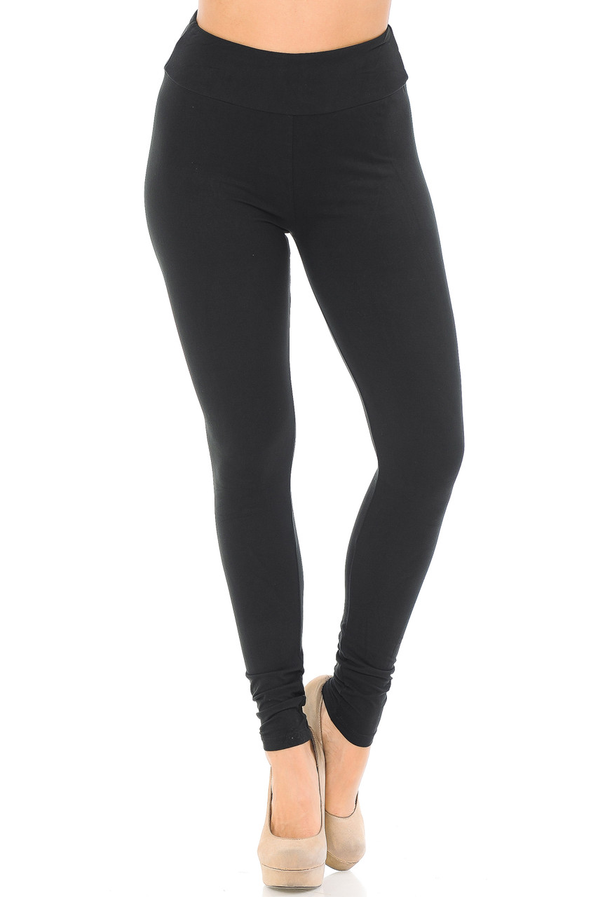 Front view image of black Buttery Soft Basic Solid High Waisted Leggings - EEVEE - 3 Inch