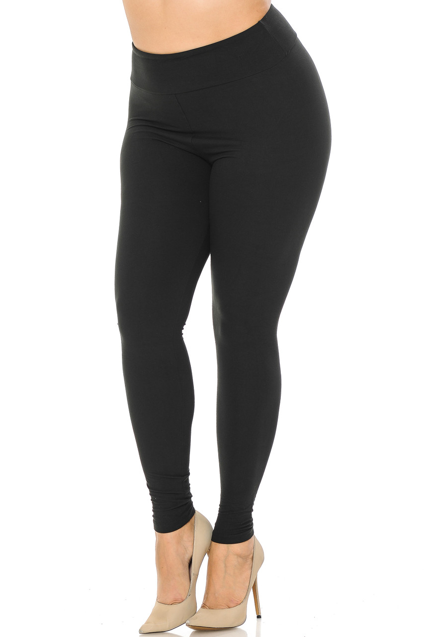 Partial front//angled left view image of black Buttery Soft Basic Solid Plus Size Leggings - EEVEE - 3 Inch
