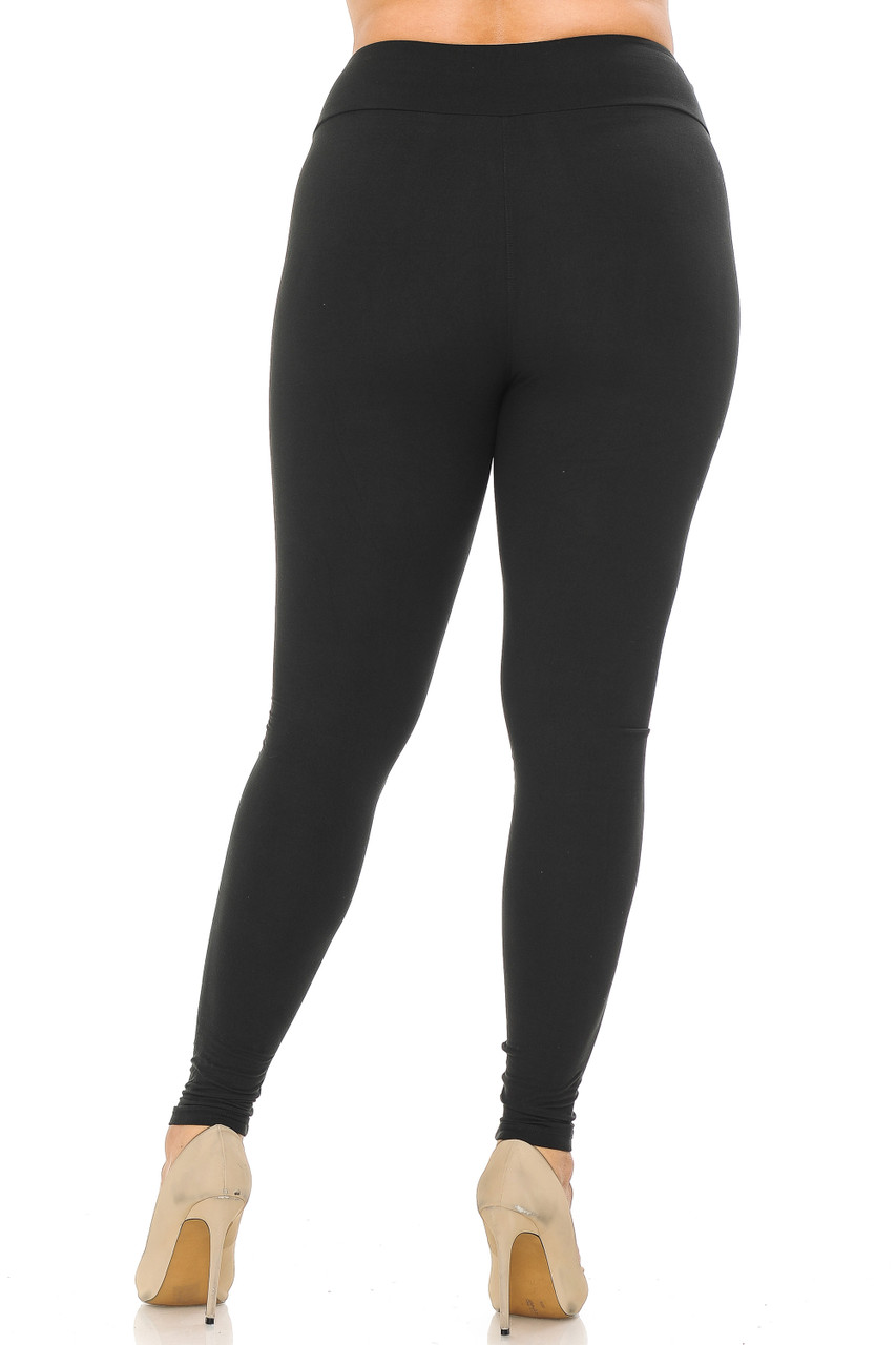 Back view image of black Buttery Soft Basic Solid Plus Size Leggings - EEVEE - 3 Inch