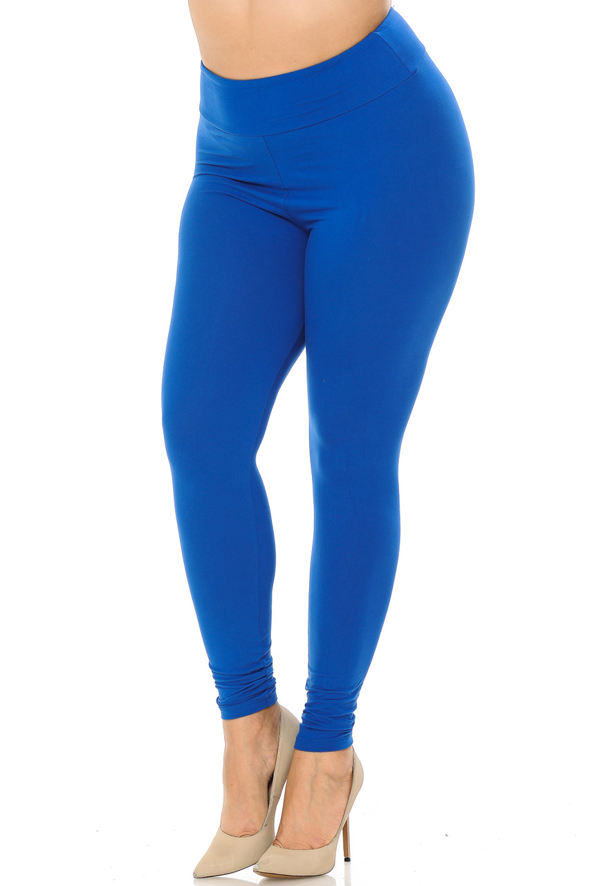 Partial front//angled left view image of blue Buttery Soft Basic Solid Plus Size Leggings - EEVEE - 3 Inch