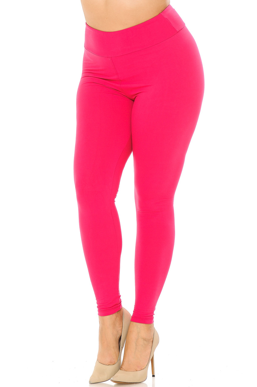 Partial front//angled left view image of fuchsia Buttery Soft Basic Solid Plus Size Leggings - EEVEE - 3 Inch