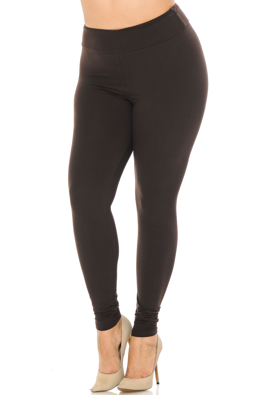 Partial front//angled left view image of brown Buttery Soft Basic Solid Plus Size Leggings - EEVEE - 3 Inch