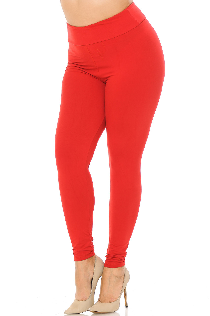 Partial front//angled left view image of red Buttery Soft Basic Solid Plus Size Leggings - EEVEE - 3 Inch