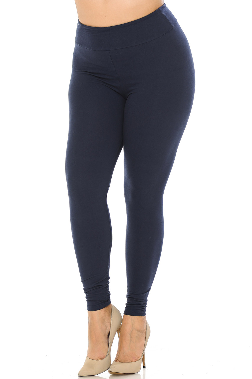 Partial front//angled left view image of navy Buttery Soft Basic Solid Plus Size Leggings - EEVEE - 3 Inch