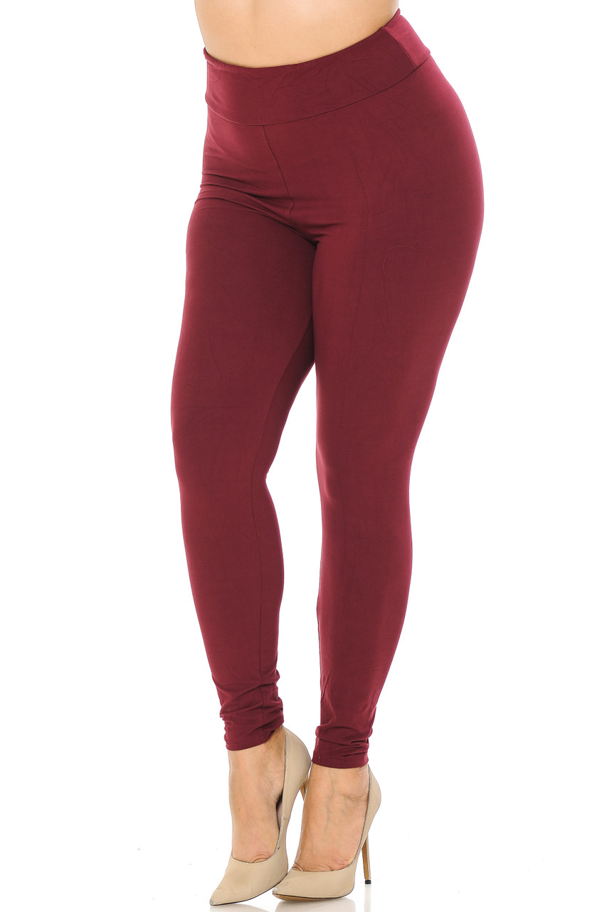 Partial front//angled left view image of burgundy Buttery Soft Basic Solid Plus Size Leggings - EEVEE - 3 Inch