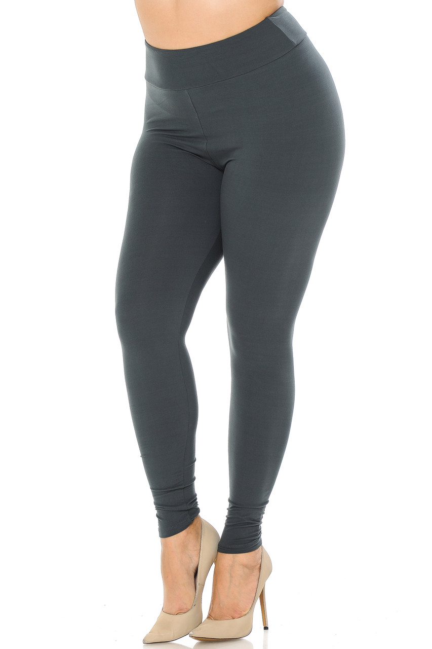Partial front//angled left view image of charcoal Buttery Soft Basic Solid Plus Size Leggings - EEVEE - 3 Inch