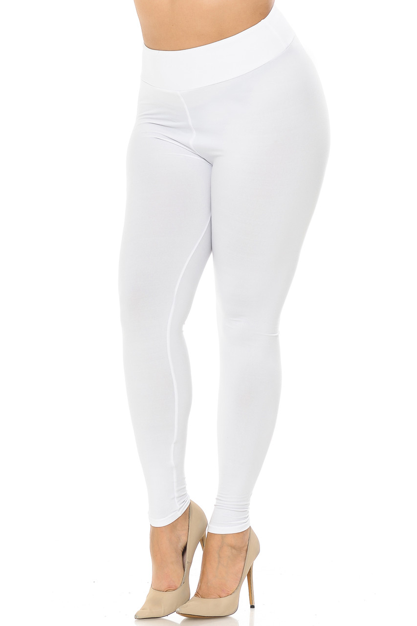 Partial front//angled left view image of white Buttery Soft Basic Solid Plus Size Leggings - EEVEE - 3 Inch