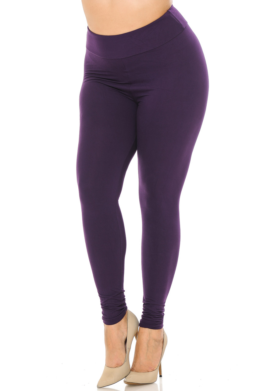 Partial front//angled left view image of purple Buttery Soft Basic Solid Plus Size Leggings - EEVEE - 3 Inch