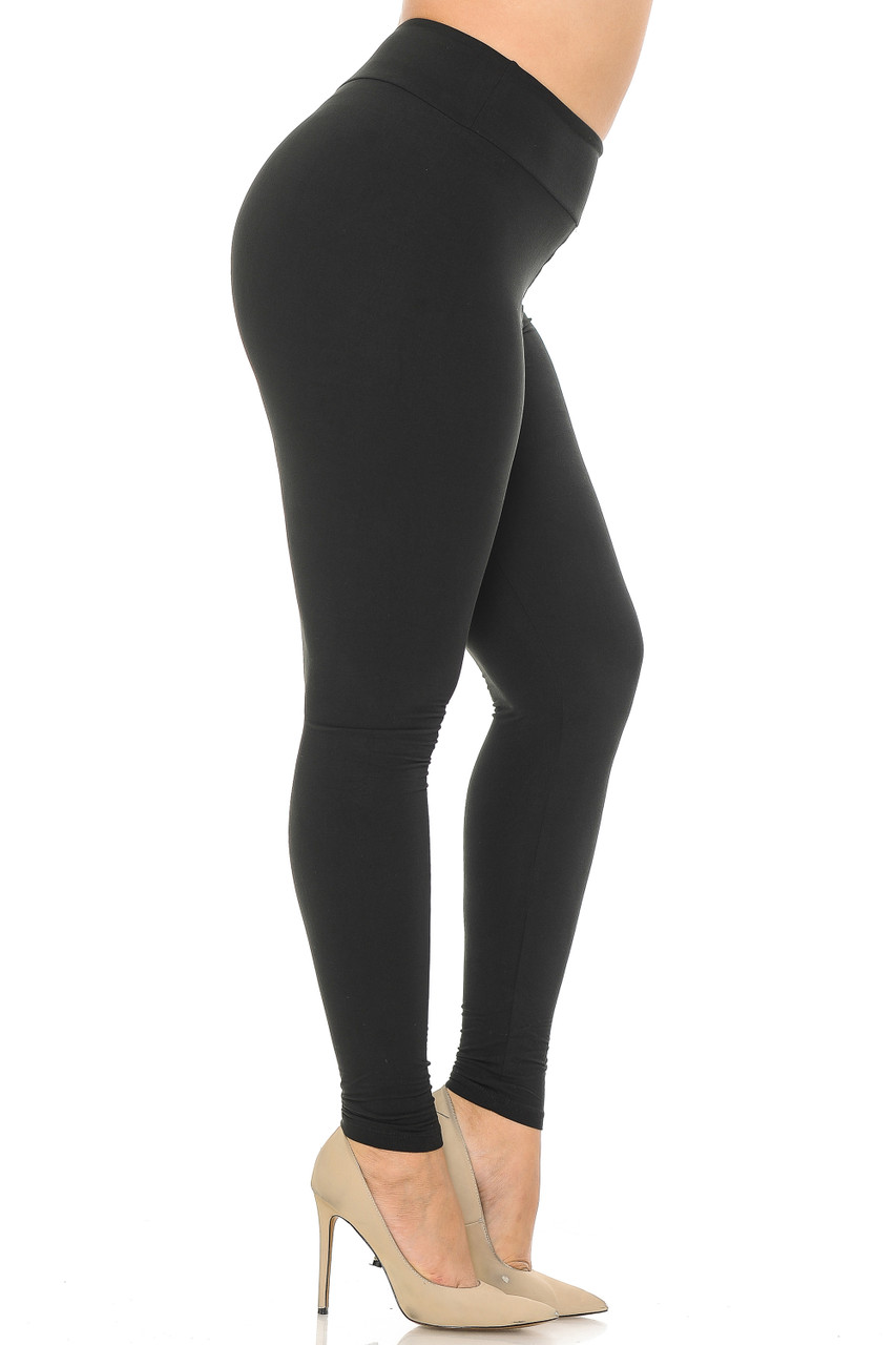 Right side image view of black Buttery Soft Basic Solid Plus Size Leggings - EEVEE - 3 Inch