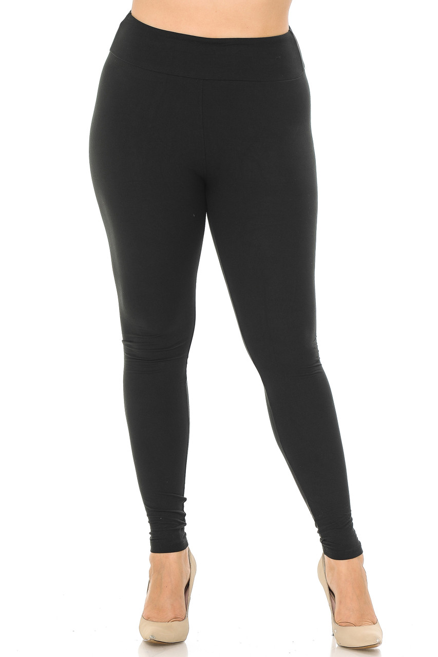 Front image view of black Buttery Soft Basic Solid Plus Size Leggings - EEVEE - 3 Inch