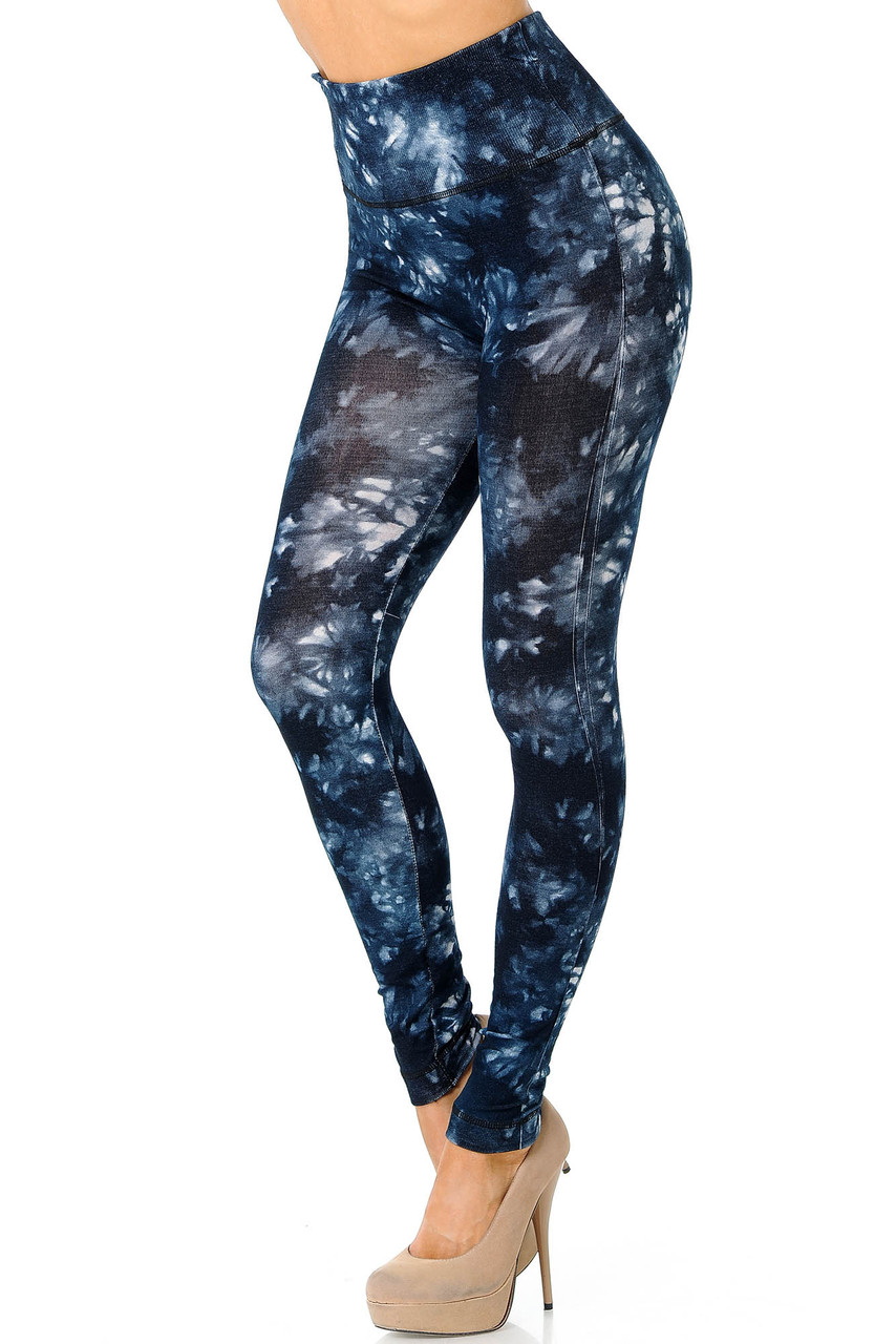 Left view of blackTie Dye High Waisted Leggings with a white contrast dyed look.