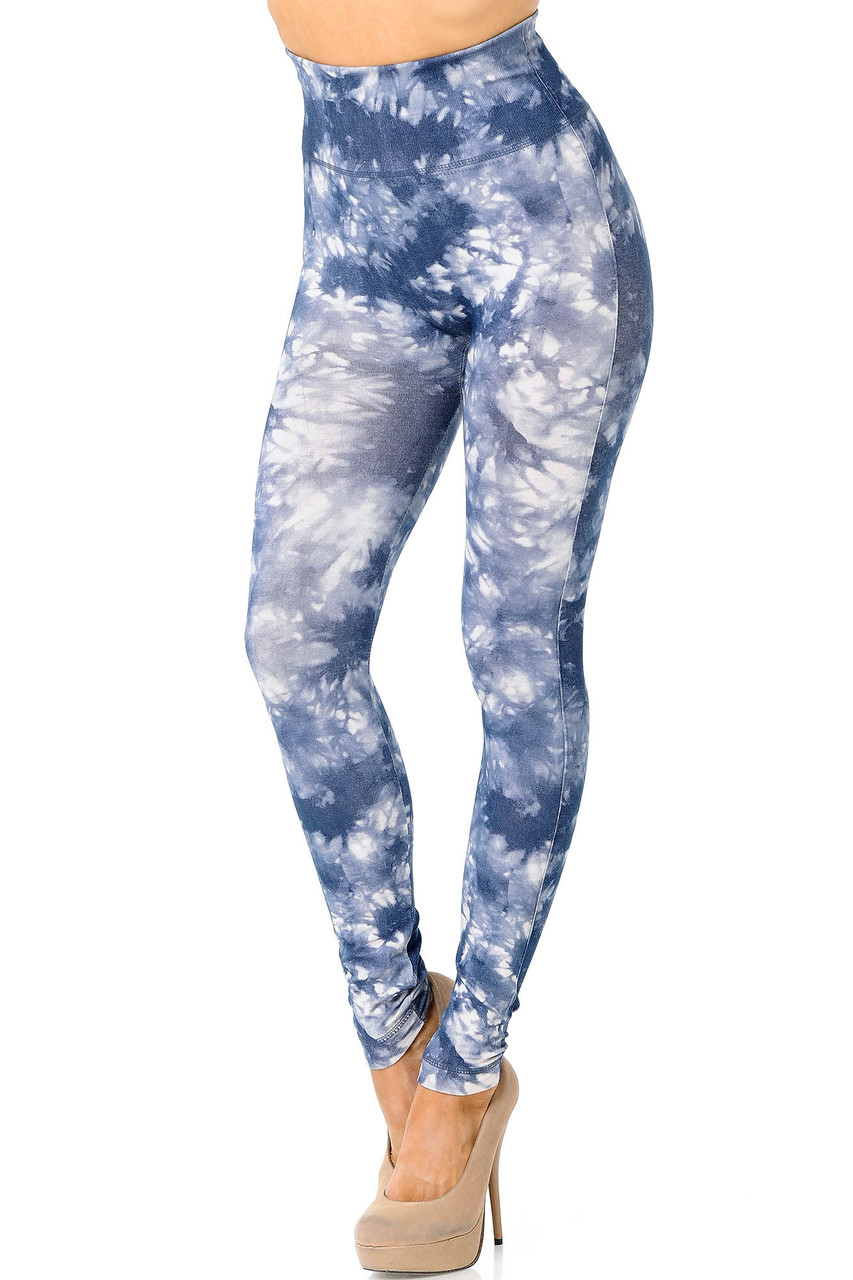 Partial front/angled left view image of charcoal Tie Dye High Waisted Leggings with white dyed accents.