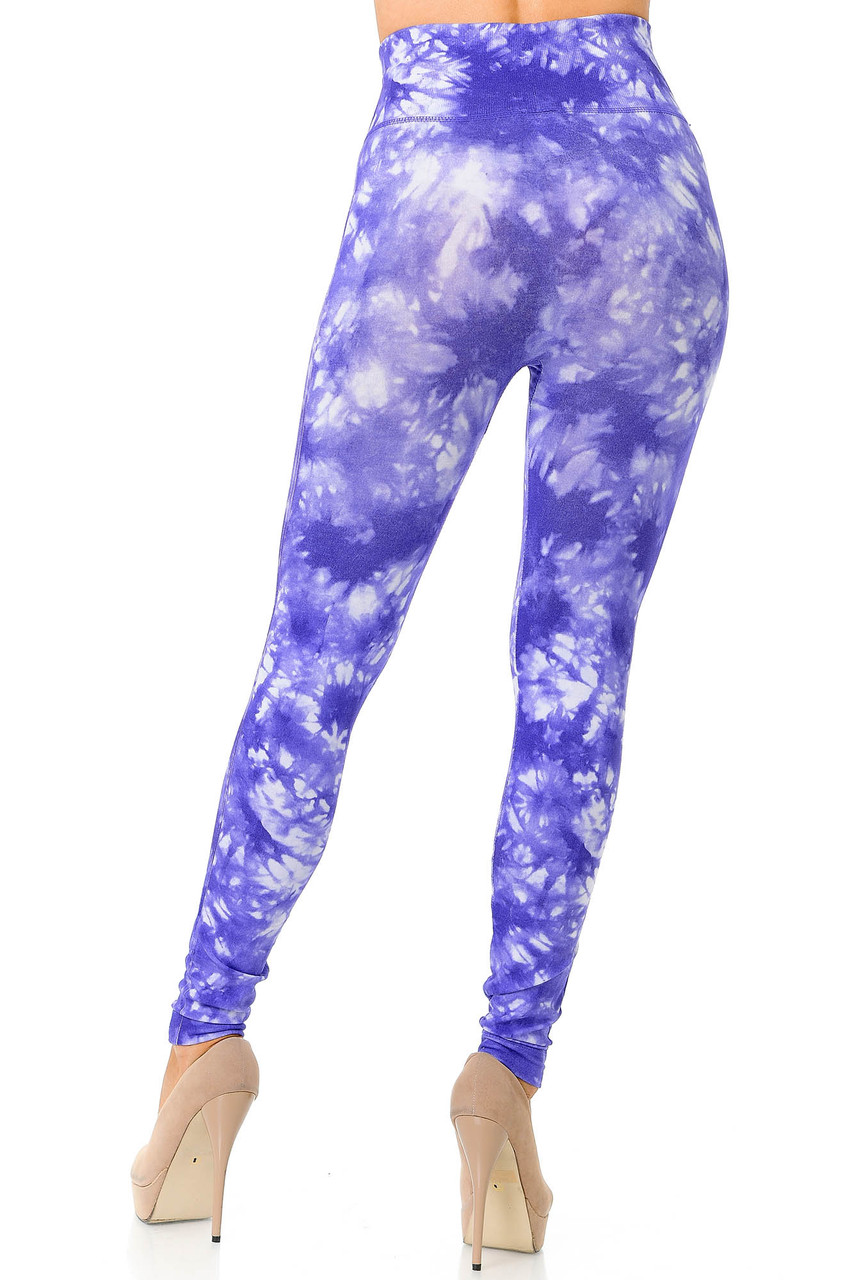 Back view image of purple Tie Dye High Waisted Leggings