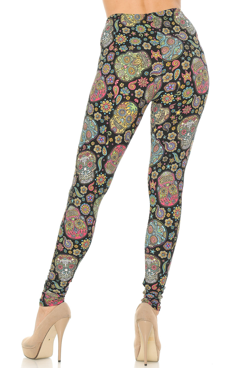 Rear view image of Buttery Soft Mandala Sugar Skull Leggings with a super flattering body hugging fit.