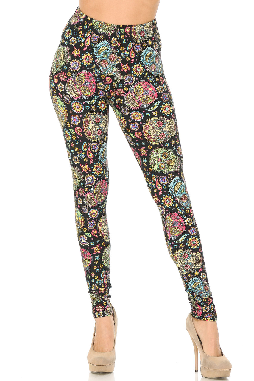 Front view of our Buttery Soft Mandala Sugar Skull Leggings with a colorful print that is great for spring and summer, and a darker background that fits into fall and wisher fashion effortlessly as well.