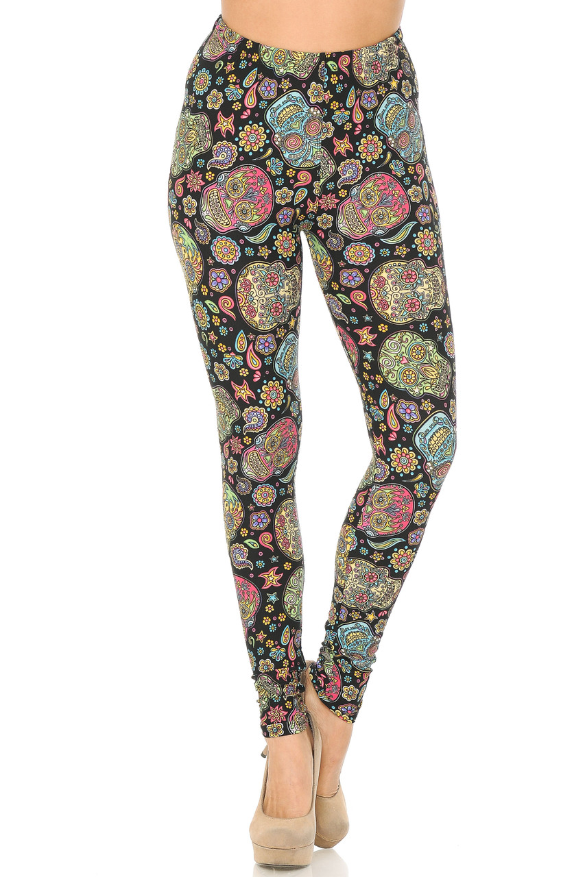 Front view of Buttery Soft Mandala Sugar Skull Leggings featuring an elasticized waistband that comes up to about mid rise.