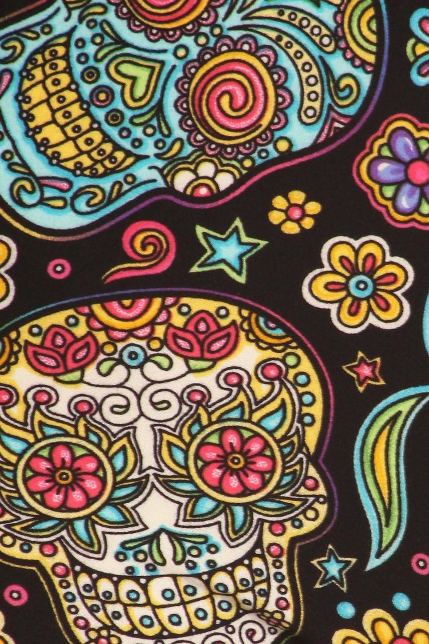 Close up swatch of Buttery Soft Mandala Sugar Skull Leggings