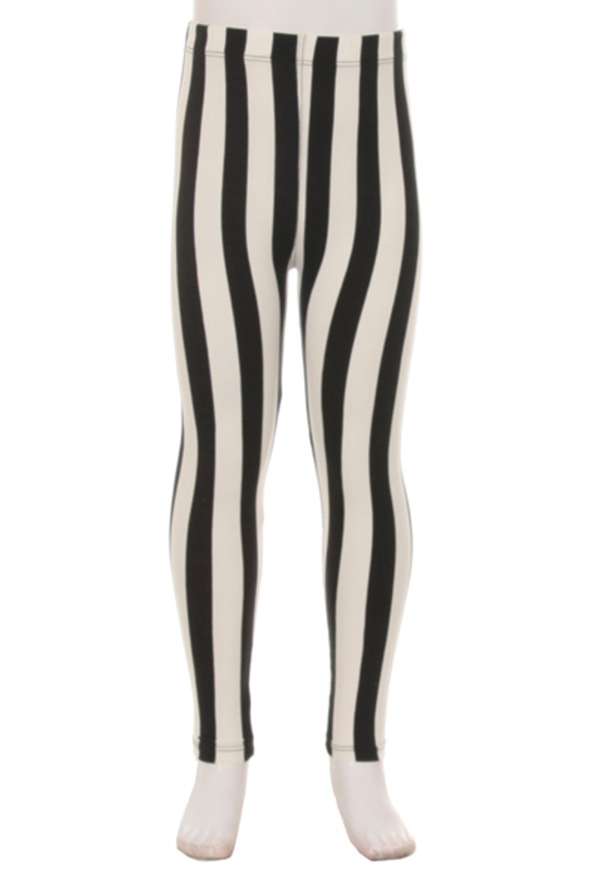 Front view of our vertical striped Buttery Soft Black Pinstripe Kids Leggings with a neutral color scheme that pairs with a top of any color.