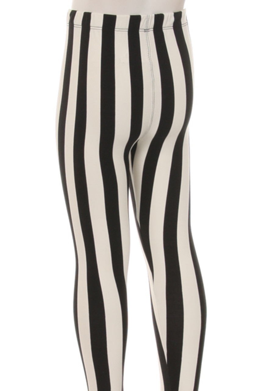 Back view of Buttery Soft Vertical Black and White Striped Kids Leggings