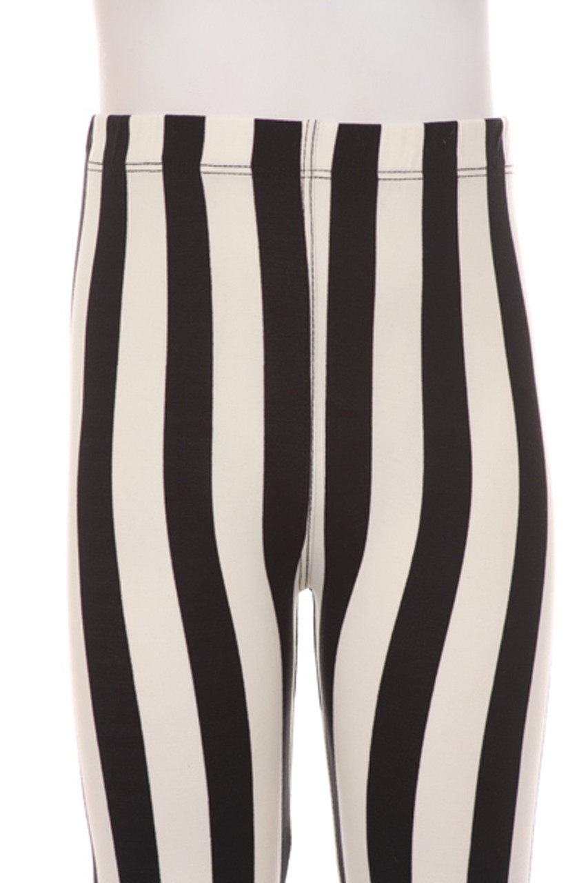 Close up view of Buttery Soft Vertical Black and White Striped Kids Leggings