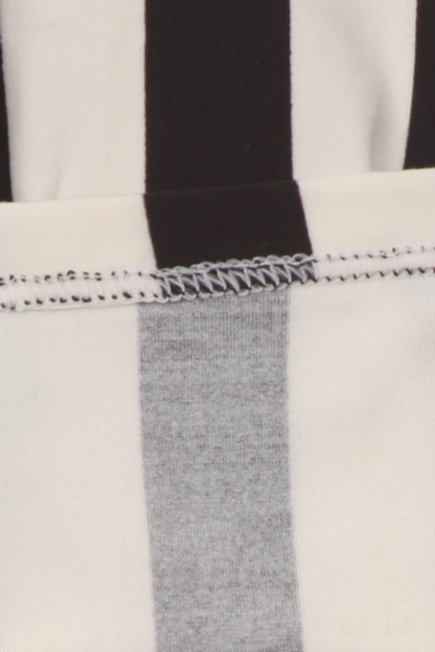 Interior of Buttery Soft Vertical Black and White Striped Kids Leggings