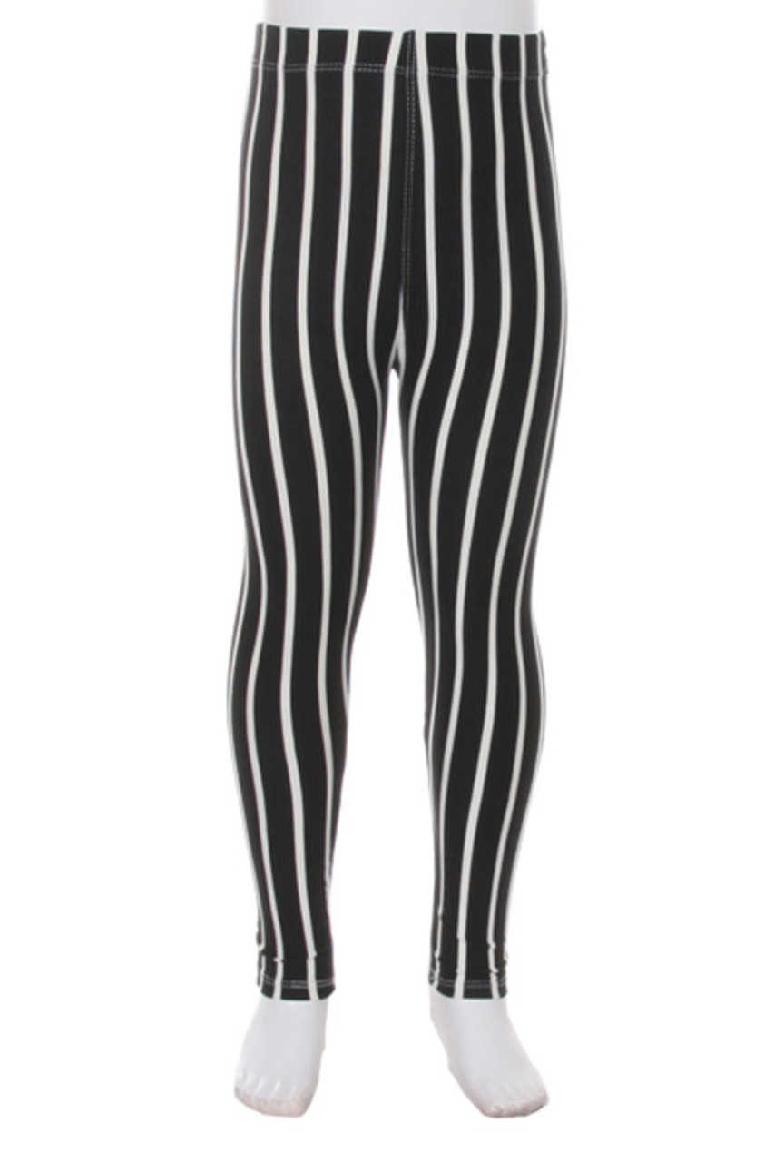 Front view of our vertical striped Buttery Soft Black Pinstripe Kids Leggings with a black and white neutral color scheme that pairs with a top of any color.