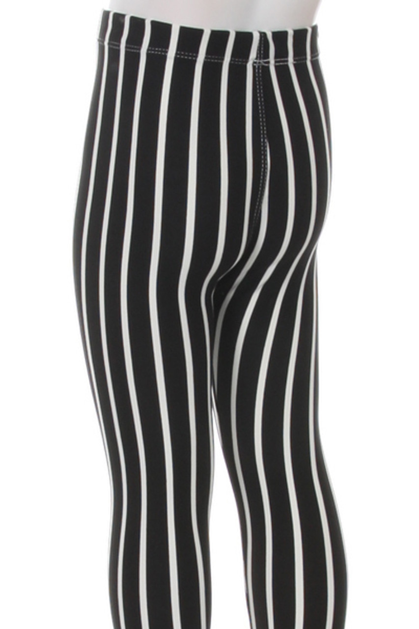 Rear view close up image of Buttery Soft Black Pinstripe Kids Leggings