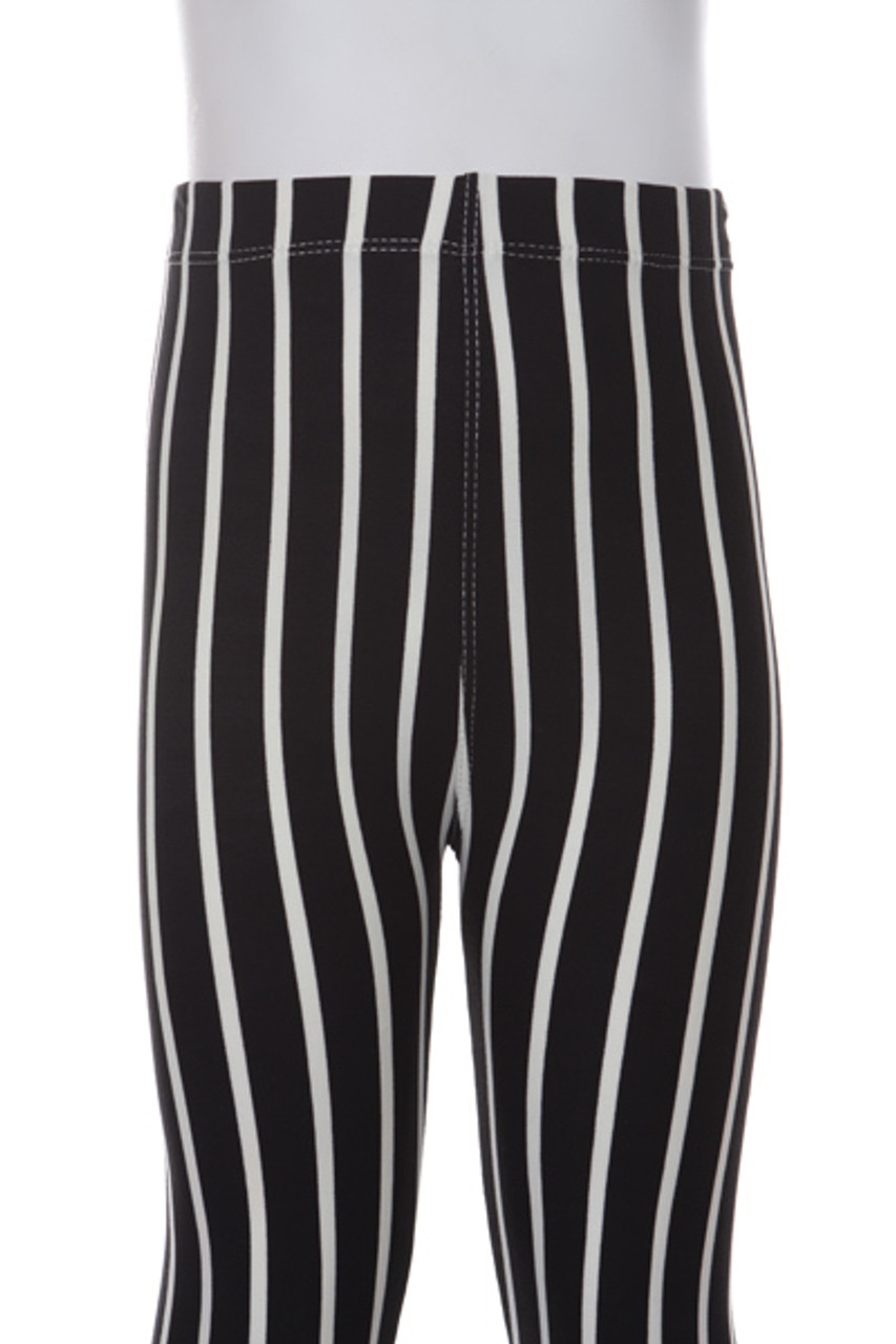 Close up view of Buttery Soft Black Pinstripe Kids Leggings