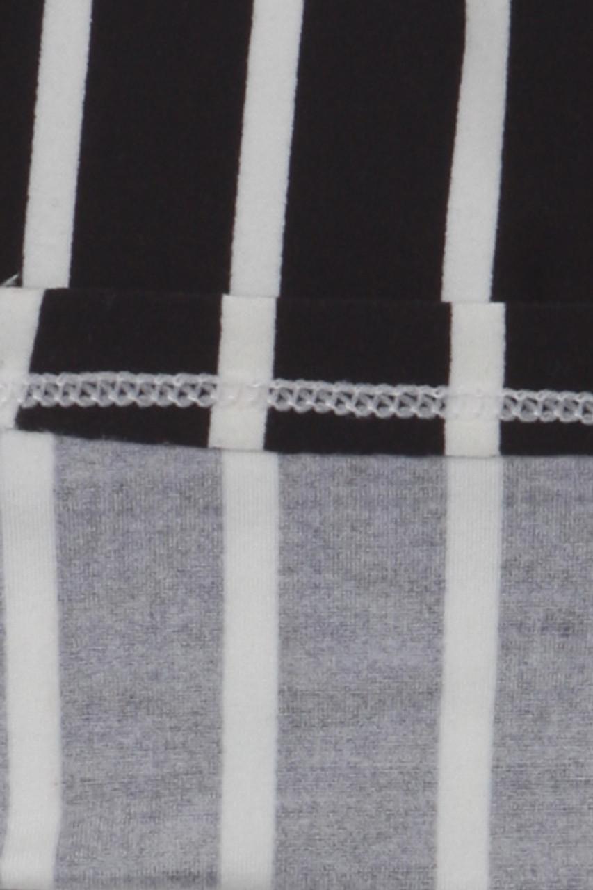 Inside view of Buttery Soft Black Pinstripe Kids Leggings