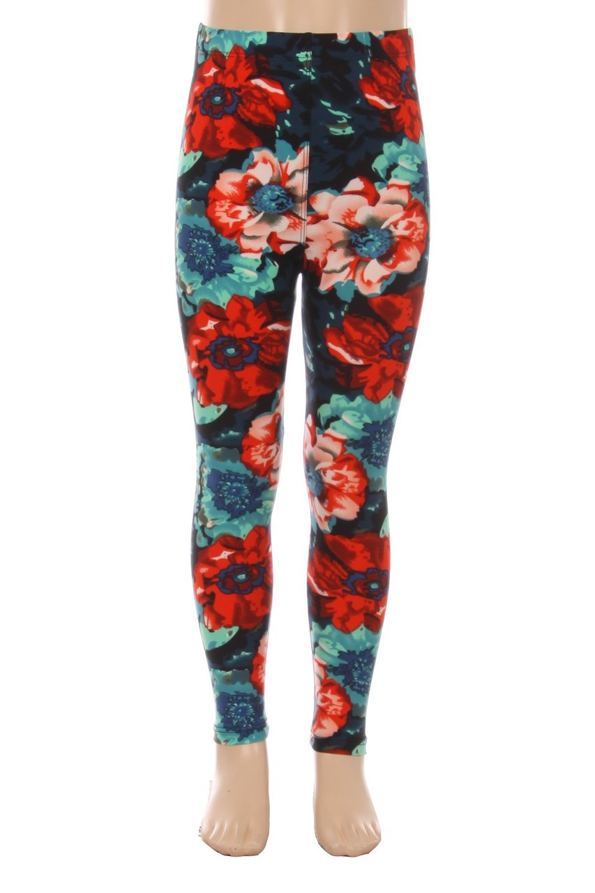 Front view of our bold Buttery Soft Painted Floral Kids Leggings that feature a large flower print with a red and blue all over flower design.