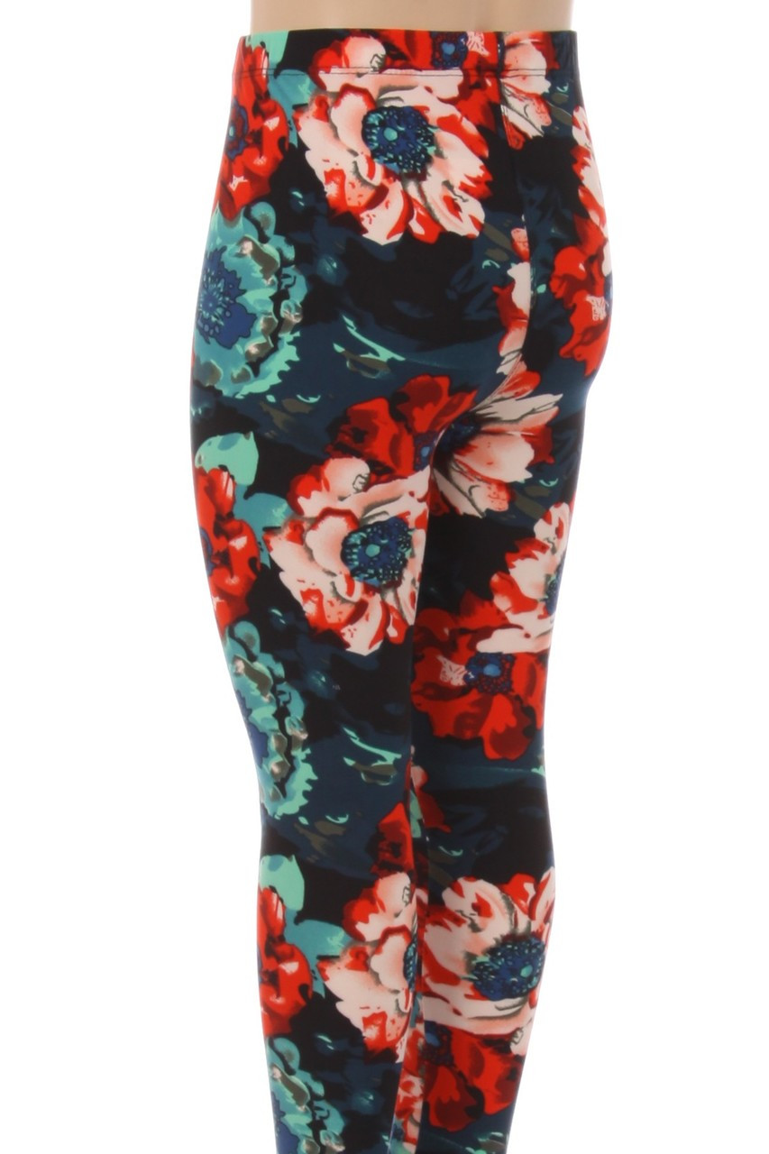 Back view image of Buttery Soft Painted Floral Kids Leggings