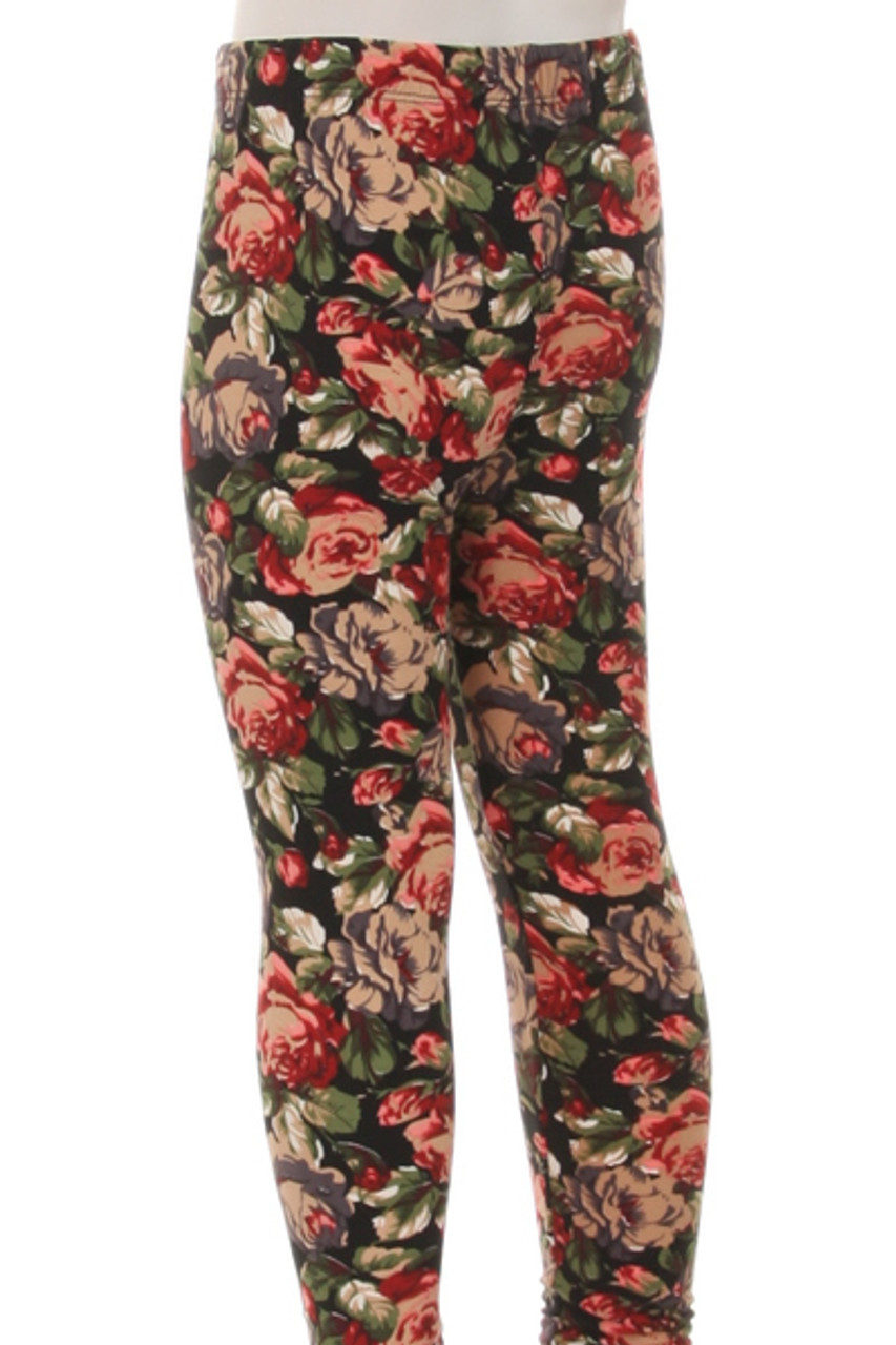 Back view of Buttery Soft Vintage Floral Kids Leggings