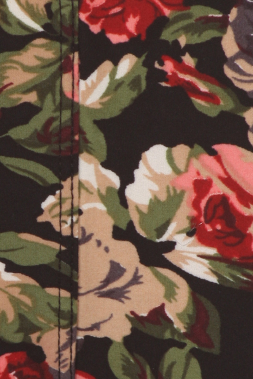 Close up swatch of Buttery Soft Vintage Floral Kids Leggings