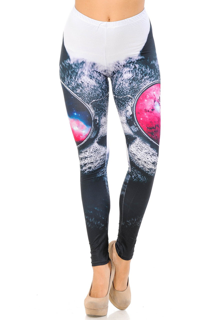 These mid rise Double Brushed Cool Sunglasses Kitty Cat Leggings feature a comfort elastic wasit.
