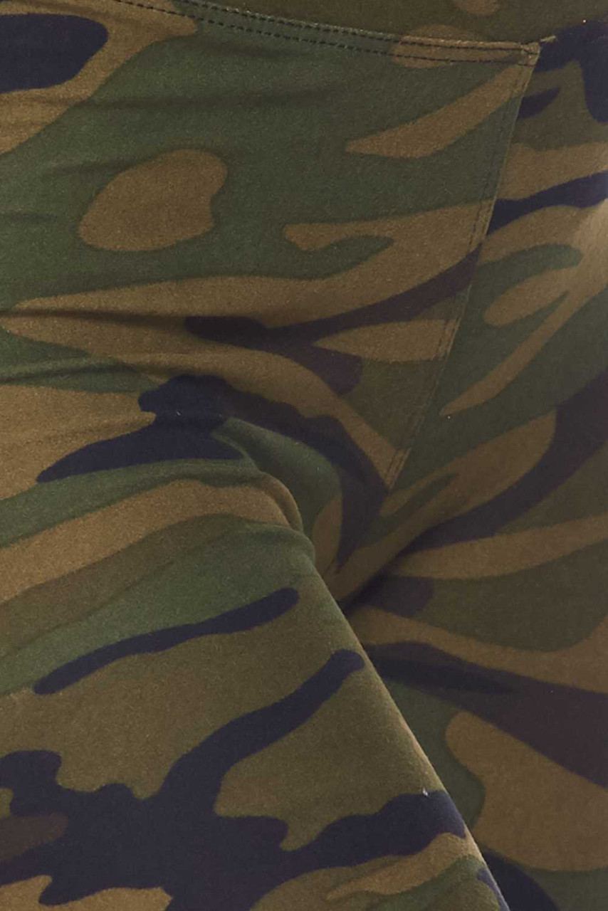 Close up swatch of Buttery Soft Green Camouflage Shorts - 3 Inch Waist Band