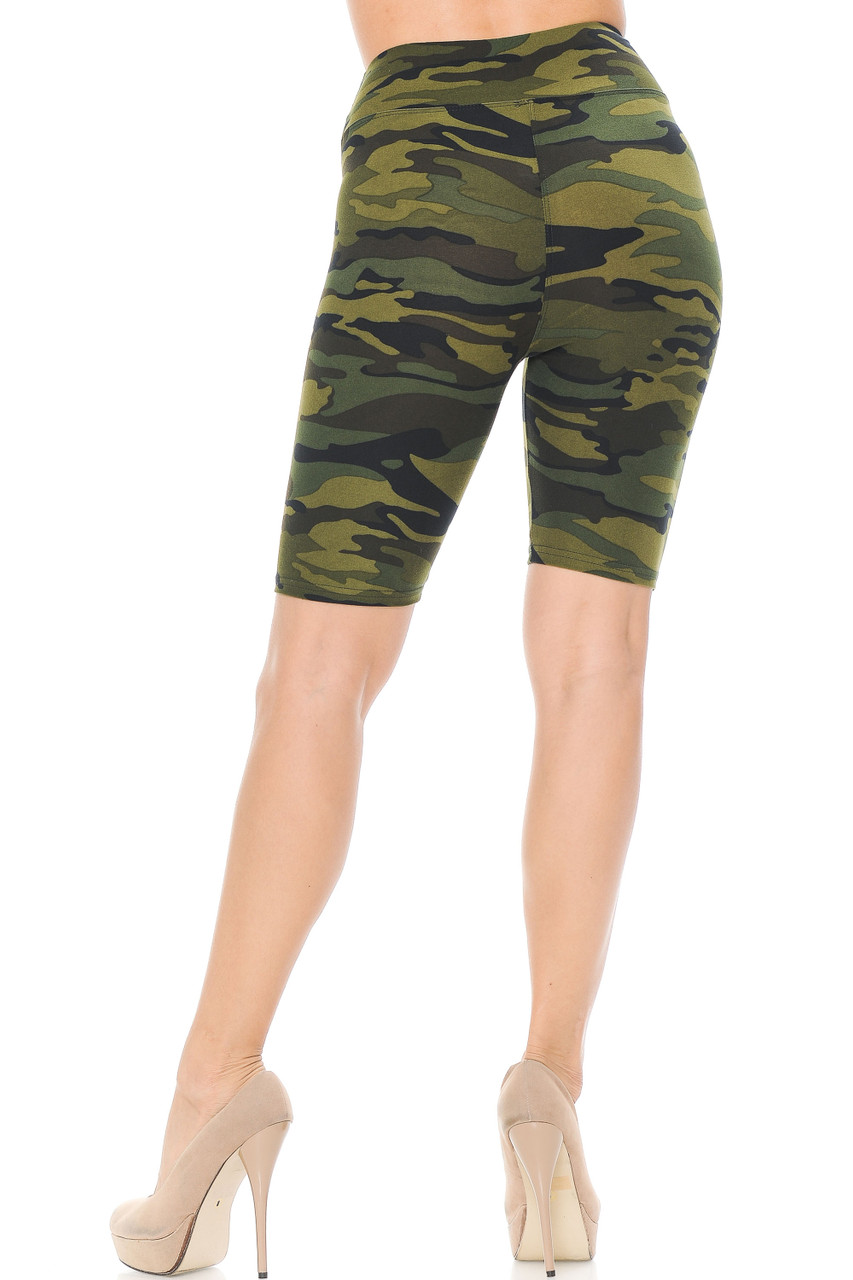 Rear view of our flattering Buttery Soft Green Camouflage Shorts that features a mid thigh biker length cut.
