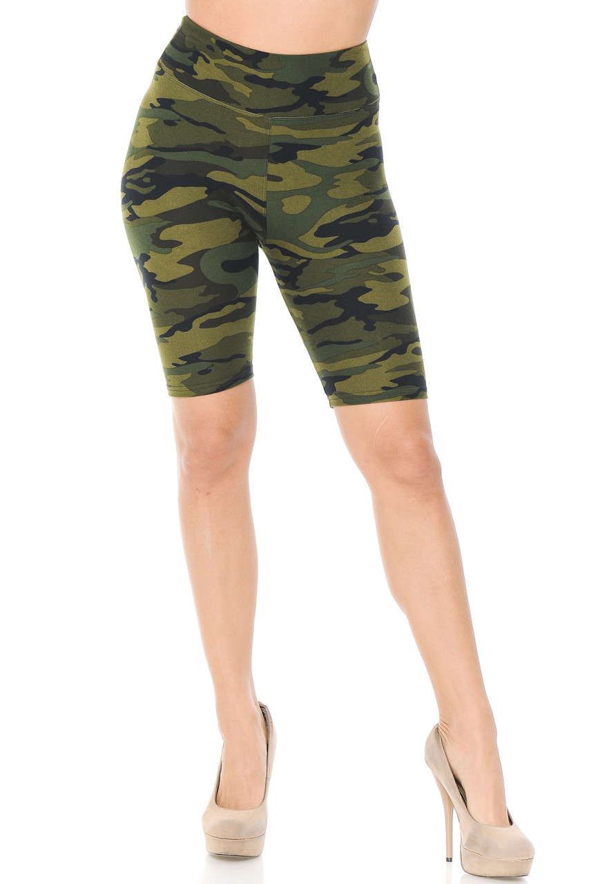 These Buttery Soft Green Camouflage Shorts  feature three inch a comfort fabric stretch waist.