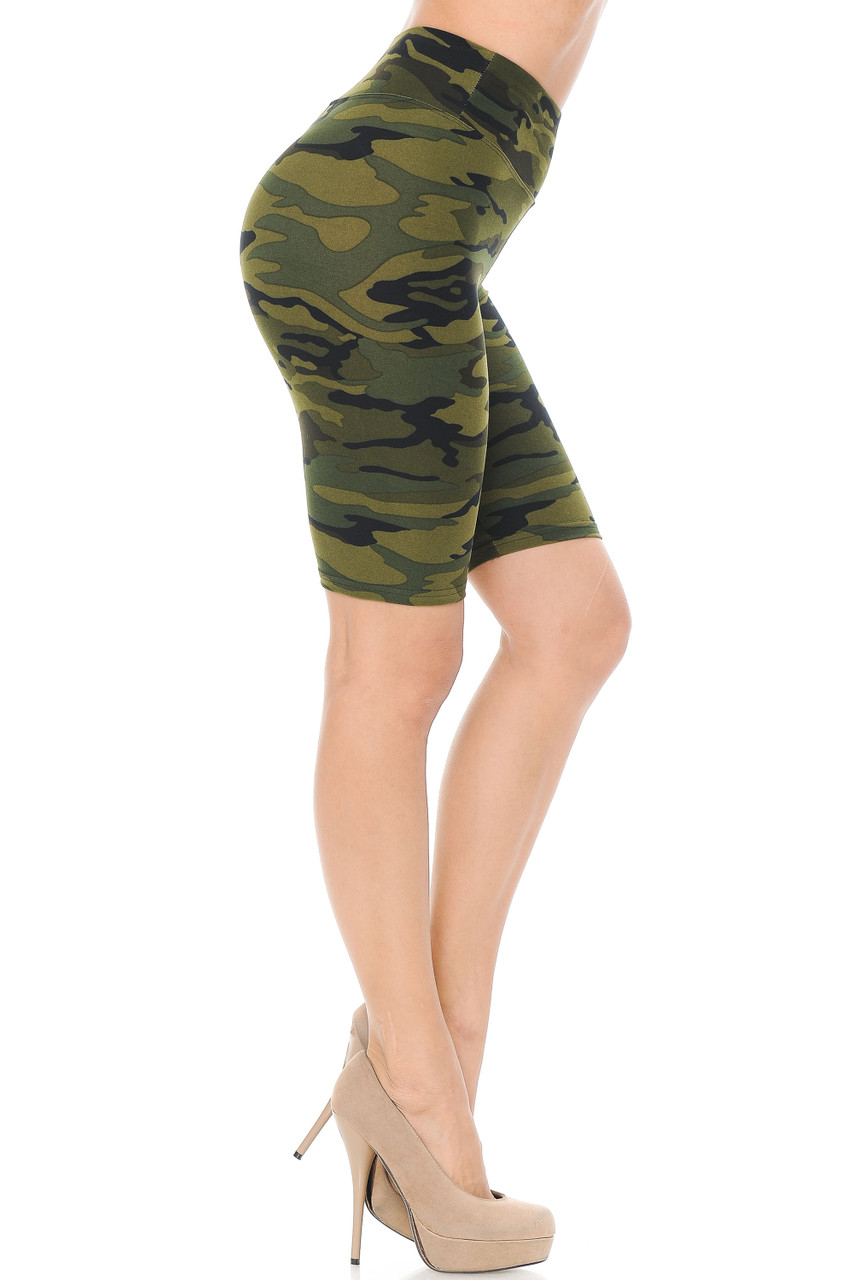 Right side view of our fitted and flattering Buttery Soft Green Camouflage Shorts - 3 Inch Waist Band