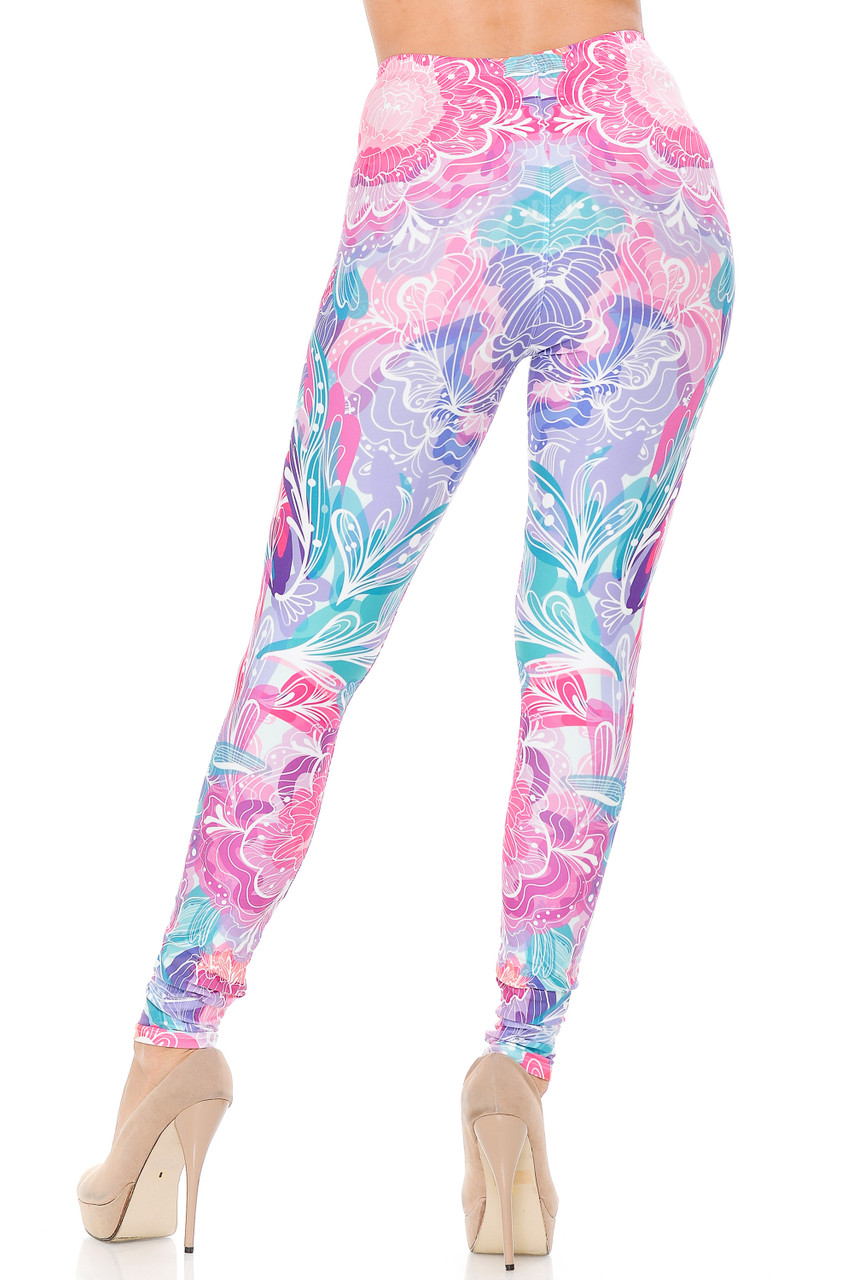 Back view of our flattering and body hugging Creamy Lavender Pink Botanical Garden Extra Plus Size Leggings - 3X-5X