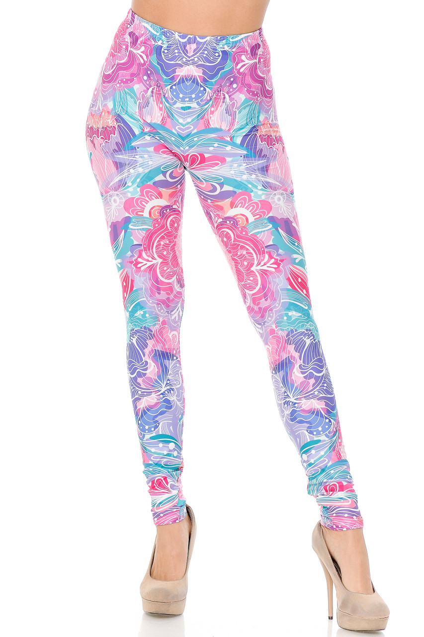 Our Creamy Lavender Pink Botanical Garden Extra Plus Size Leggings is full length with a skinny leg cut.