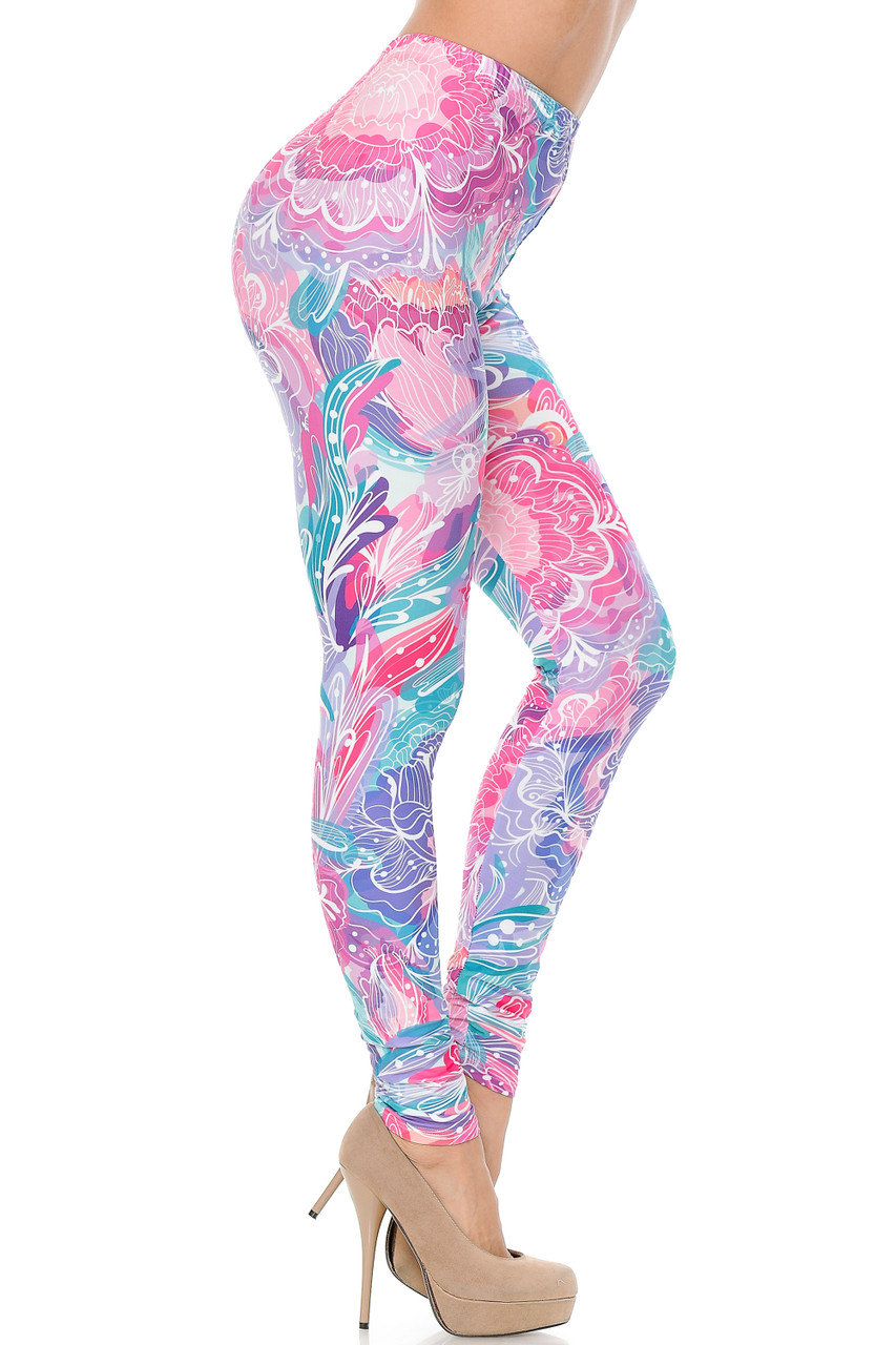 Right side view of Creamy Lavender Pink Botanical Garden Extra Plus Size Leggings - 3X-5X