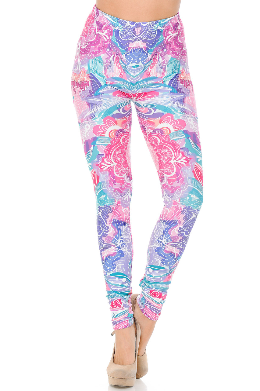 Front view of Creamy Lavender Pink Botanical Garden Extra Plus Size Leggings with a comfort stretch elastic waist that comes up to about mid rise.